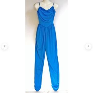 Vintage 1970s Bright Blue Harem Jumpsuit